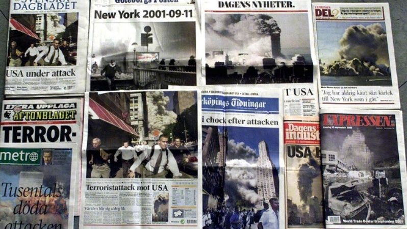 An image taken September 12, 2001, showing front pages of Swedish newspapers.