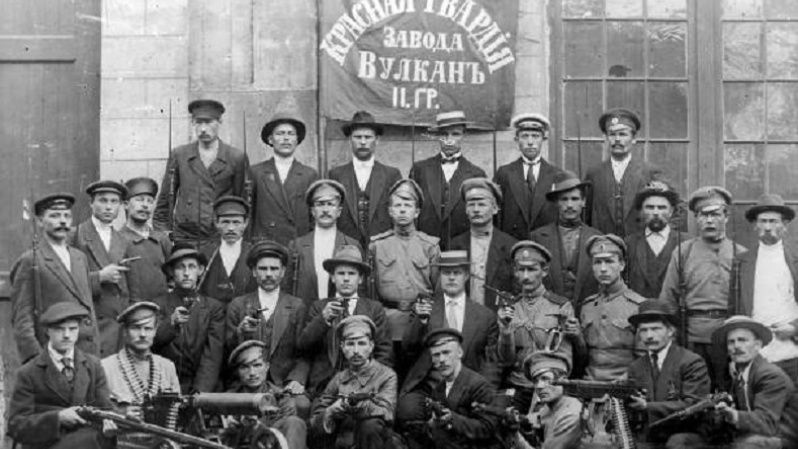 Red Guard unit of the Vulkan factory in Petrograd, Oct. 1917.