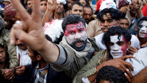 Supporters of the Houthi movement and Yemen's former president Ali Abdullah Saleh attend a rally to mark two years of the military intervention by the Saudi-led coalition, in Sanaa, Yemen, March 26, 2017.