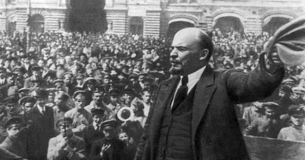 Vladimir Lenin speaks to the crowds after the triumph of the Bolshevik Revolution, October, 1917.