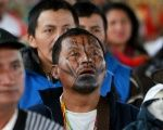 Members of the indigenous community of Colombia attend the National Congress of Indigenous People