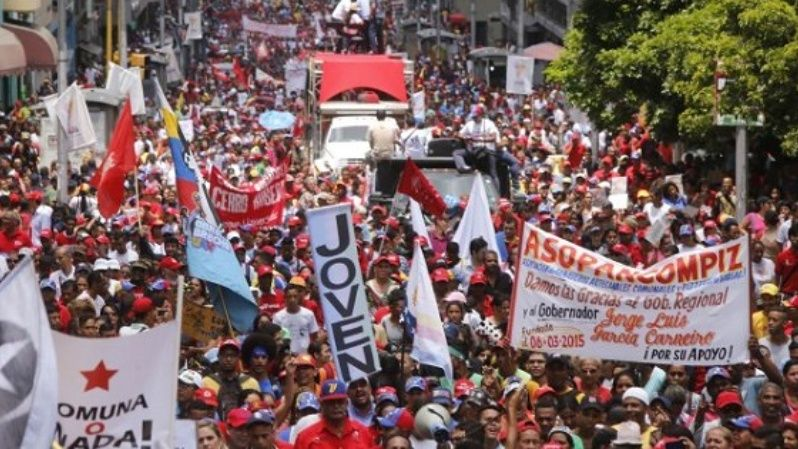 Venezuelan commune movements march in support of the upcoming Constituent Assembly.