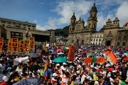 Colombian teachers and unions protest, demanding better salaries and working conditions, in Bogota