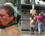 An attempted lynching by opposition supporters in the heart of Caracas, Venezuela.