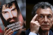 President Mauricio Macri (R) was asked about his opinion on the Santiago Maldonado disappearance case.