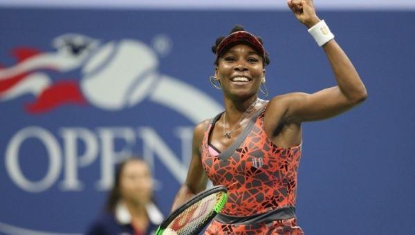 Venus Williams celebrates after a quarterfinal at the U.S. Open tennis tournament in New York, U.S., on Sept. 5, 2017.
