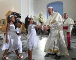 Pope Francis during a visit to the Sanctuary of St. Peter Claver, Cartagena, Colombia, 10 September 2017.