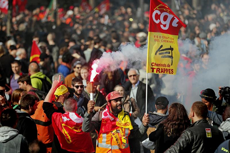 Activists participate in a first day of strikes and demonstrations against a labor reform by French President Emmanuel Macron on September 12, 2017.