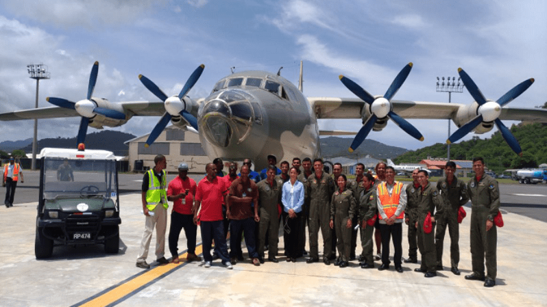 One of the Bolivarian Armed Forces planes that transported trained volunteers, relief and logistical supplies to Barbuda and Dominica, through Antigua and Saint Lucia.