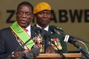 Emmerson Mnangagwa speaks after being sworn in as Zimbabwe's president in Harare, Zimbabwe, Nov. 24, 2017.