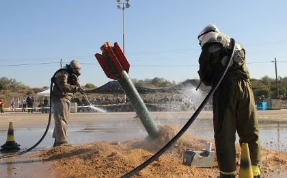 Members of the Israel Defense Forces simulate a nuclear drill.