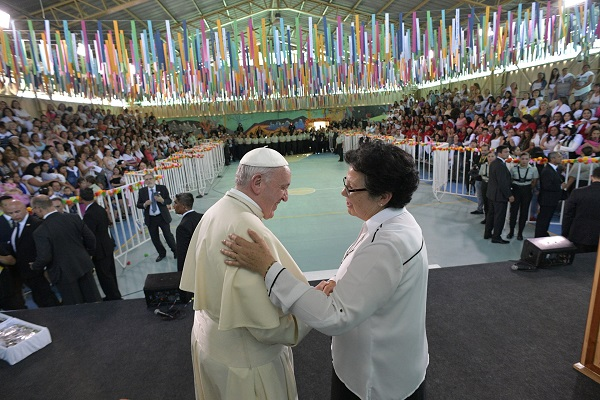 Pope Francis greets people at San Joaquin women