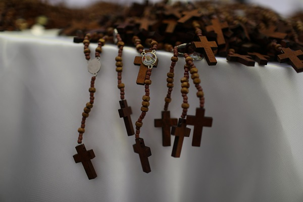 Rosaries made by inmates for the visit of Pope Francis are displayed in Santa Monica prison in Lima, Peru.