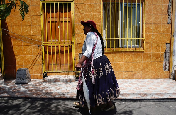 A woman from the Bolivian community in Iquique. Chile