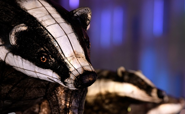 "A light sculpture representing a badger is seen as part of ""Nightlife,"" by Jo Pocock and the Lantern Company, in Leicester Square Gardens."