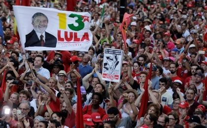 Supporters of former Brazilian president Luiz Inacio Lula da Silva attend a rally in support of Lula da Silva candidacy to the 2018 presidential race, in Porto Alegre, Brazil January 23, 2018.