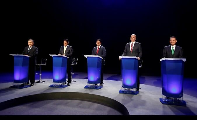 Presidential debate on Jan. 30. From right to left: Antonio Alvarez Desanti, Rodolfo Piza, Carlos Alvarado, Fabricio Alvarado, and Juan Diego Castro.