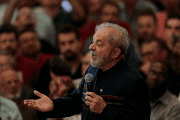 Lula gives a speech at a mass to mark one year since his wife's death.