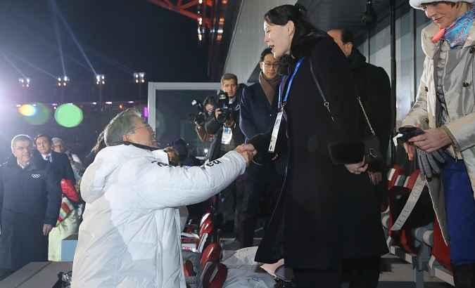 South Korean President Moon Jae-in shakes hands with Kim Jong Un's younger sister Kim Yo Jong at the Winter Olympics opening ceremony in Pyeongchang.