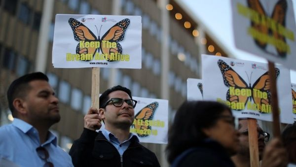 People protest for immigration reform that will allow DACA recipients a path to citizenry through the Dream Act which has been in legislative debate since 2011. Los Angeles Jan. 22 2018