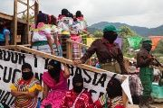 Zapatista women soldiers and dancers during a political event in the Guadalupe Tepeyac autonomous community in Chiapas. October 17, 2017.