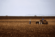 Farmers work on a land outside Lichtenburg, a maize-growing area in the North West province of South Africa.