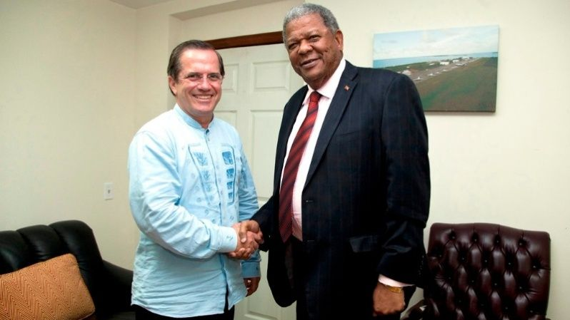 Baldwin Spencer of the United Progressive Party with former Ecuador foreign minister, Ricardo Patiño.