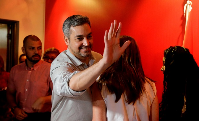 Paraguay's presidential candidate Mario Abdo Benitez, of the Colorado Party gestures during a meeting with supporters at the party's headquarters in Asuncion, Paraguay March 21, 2018.