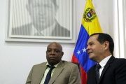 South African Ambassador Joseph Muzi Khehla (Right) meets with Venezuela's Minister of Foreign Trade and International Investment, Jose Gregorio Vielma Mora, (Left) in Caracas.