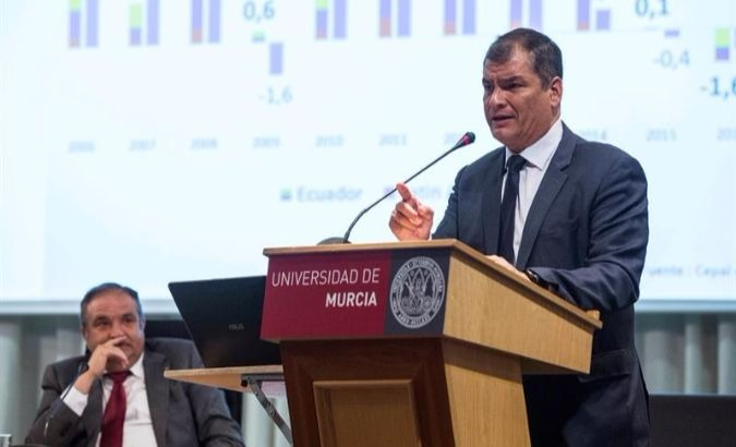 Former Ecuadorean President Rafael Correa speaks at the Universidad de Murcia.