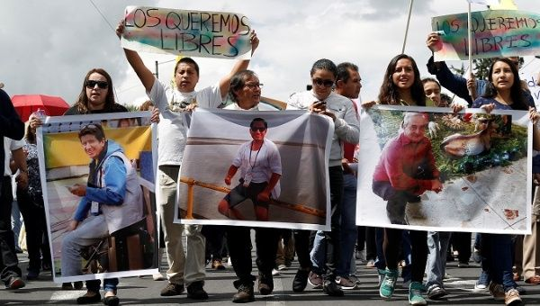 Ecuadorean journalists held by Colombian rebels confirmed dead