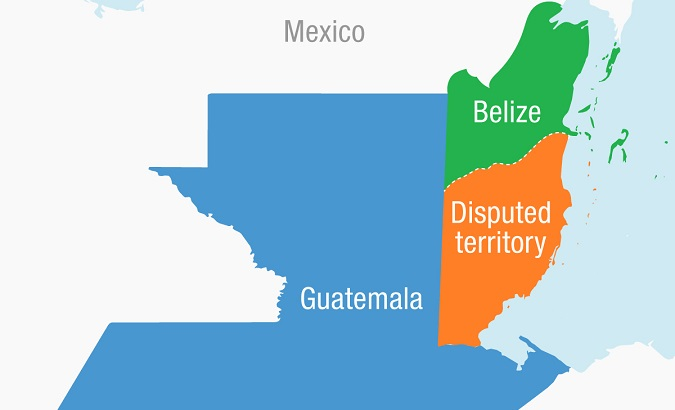 A map shows the disputed territory between the two Central American nations.