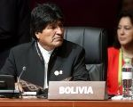 Bolivia's President Evo Morales during the opening session of the Summit of the Americas in Lima, Peru, April 14, 2018.
