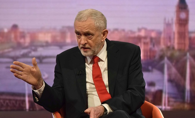 Jeremy Corbyn, the leader of Britain's Labour Party attends the BBC's Marr Show in London, April 15, 2018.