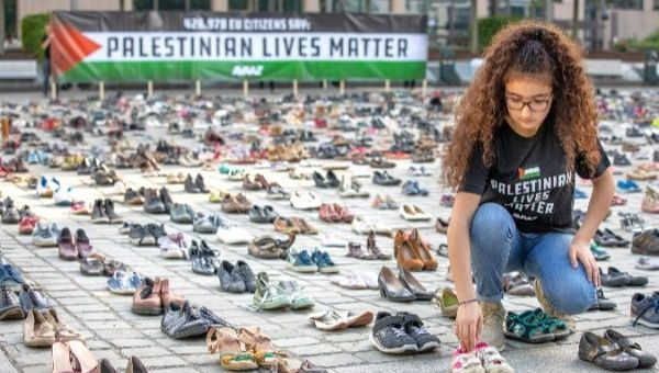 Image result for 4,500 Pairs of Shoes Laid at EU Council to Honor Palestine