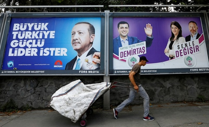 Erdoğan's poster on the left reads,