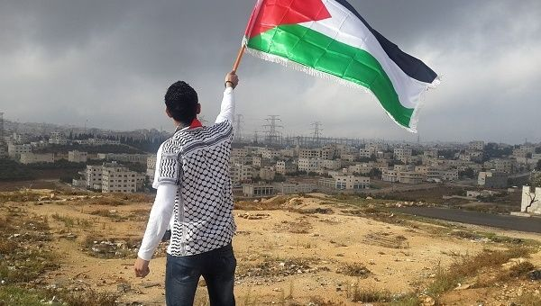 A man waves a Palestinian flag.