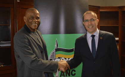 The African National Congress Secretary General Ace Magashule and Venezuelan Foreign Minister Jorge Arreaza.