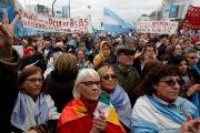 Demonstrators attend a protest against the President Mauricio Macri's government agreement with the International Monetary Fund (IMF) in Buenos Aires, Argentina, July 9, 2018.