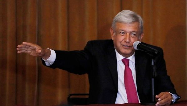AMLO talks during a media conference.