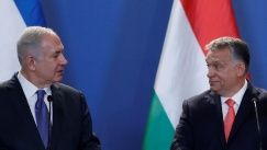 Hungarian Prime Minister Viktor Orban (R) and Israeli Prime Minister Benjamin Netanyahu attend a news conference in Budapest, Hungary, July 18, 2017.