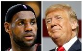 NBA basketball player LeBron James (L) in Oakland, California January 16, 2013 and U.S. President Donald Trump in Lewis Center, Ohio August 4, 2018.