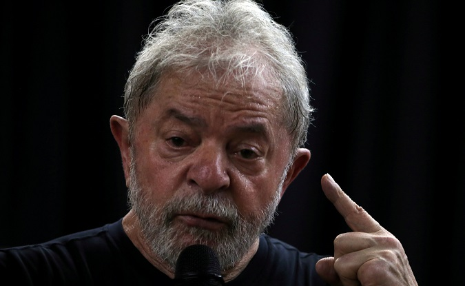 Former Brazilian President Luiz Inacio Lula da Silva speaks at his book launch event in Sao Paulo, Brazil March 16, 2018.