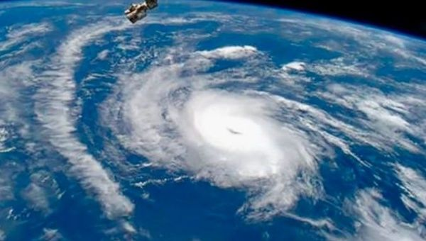 Hurricane Irma passes over the Caribbean, September 2017.