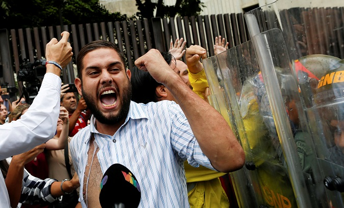 Detained opposition legislator Juan Requesens during protests in 2017.