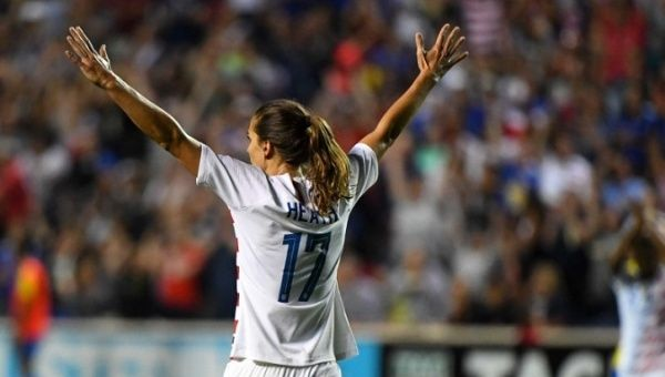Women face different kinds of gender-based violence in sports. United States of America forward Tobin Heath reacts after scoring a goal, FILE photo
