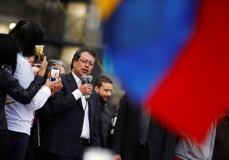 Former presidential candidate and opposition senator Gustavo Petro addressed the crowd Tuesday. He has positioned himself as leader of the opposition.