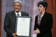 Andres Manuel Lopez Obrador (AMLO) accepts the certificate declaring him president-elect of Mexico, August 8, 2018
