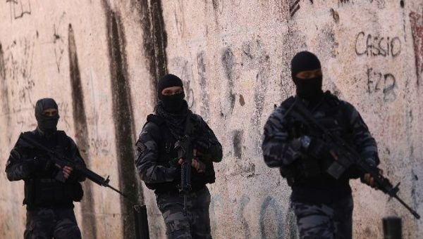 Brazil's militarized police conduct an operation in a favela in Rio de Janeiro.