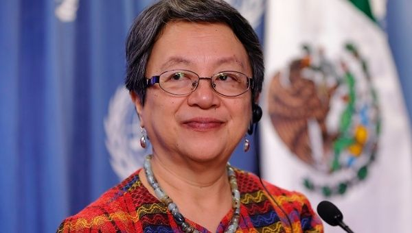 The UN Special Rapporteur on Indigenous Rights Victoria Tauli-Corpuz in Mexico City, November 2017.